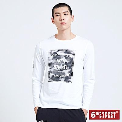 5th STREET 潮流網點LOGO長袖T恤-男-白色