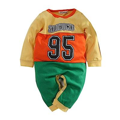 數字三色剪接長袖連身衣 k60746 魔法Baby