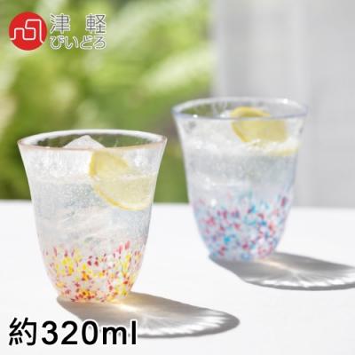 ADERIA 日本津輕系列手作櫻花雙色玻璃對杯禮盒組
