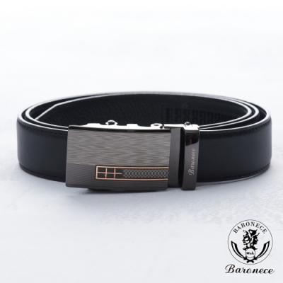 BARONECE 百諾禮士 商務高品質皮革皮帶_黑(519002)