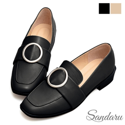 山打努SANDARU-方頭鞋 質感金屬大圓釦低跟樂福鞋-黑