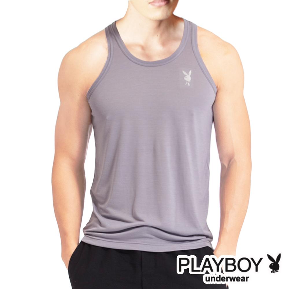 PLAYBOY 吸溼排汗速乾機能服 透涼圓領背心(淺駝灰)