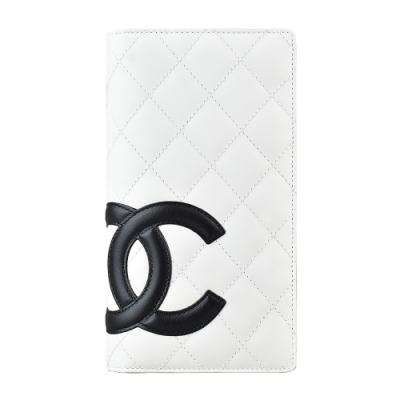 CHANEL 康朋系列雙C LOGO羊皮對折長夾(白x黑)