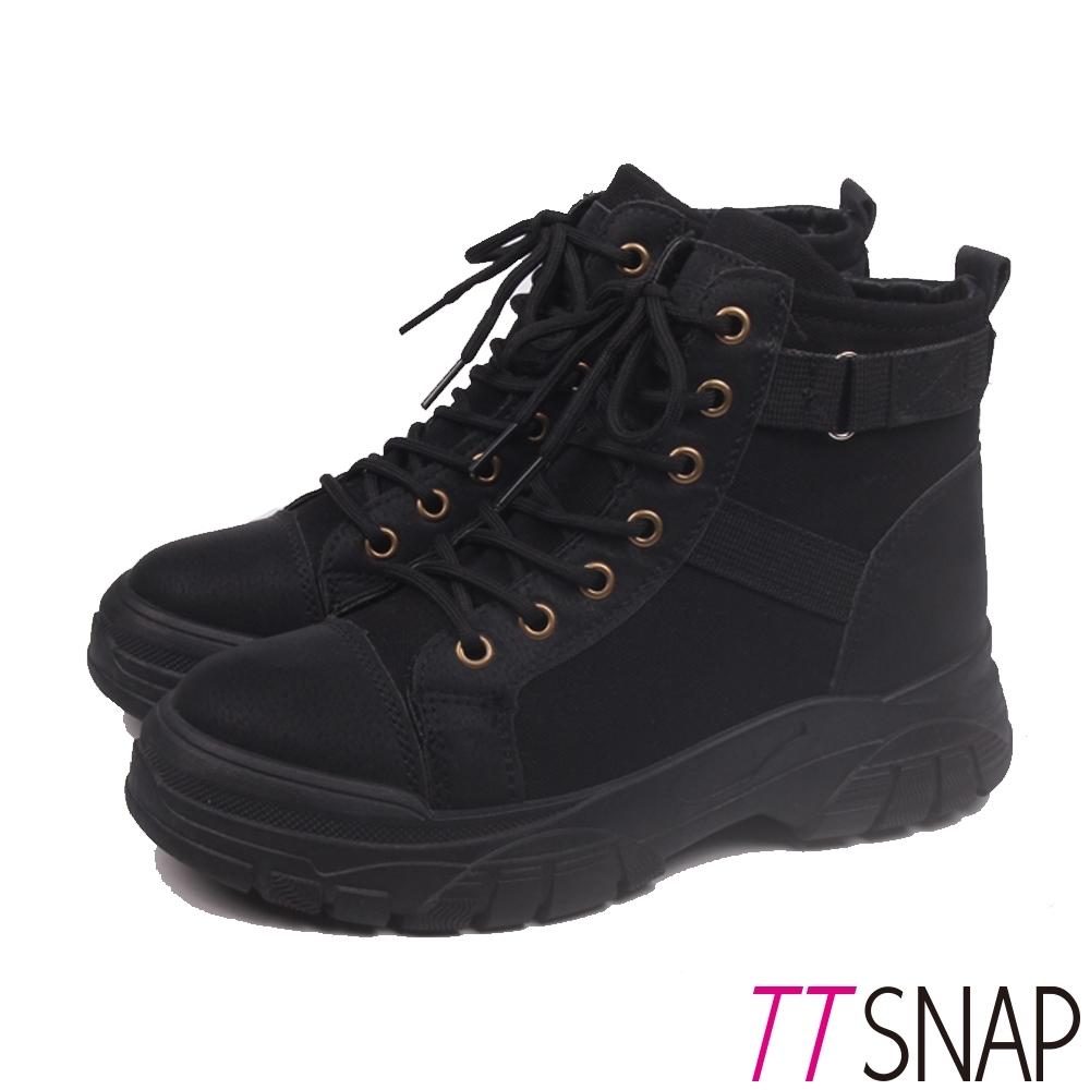 TTSNAP短靴-綁帶拼接俐落馬丁靴 黑
