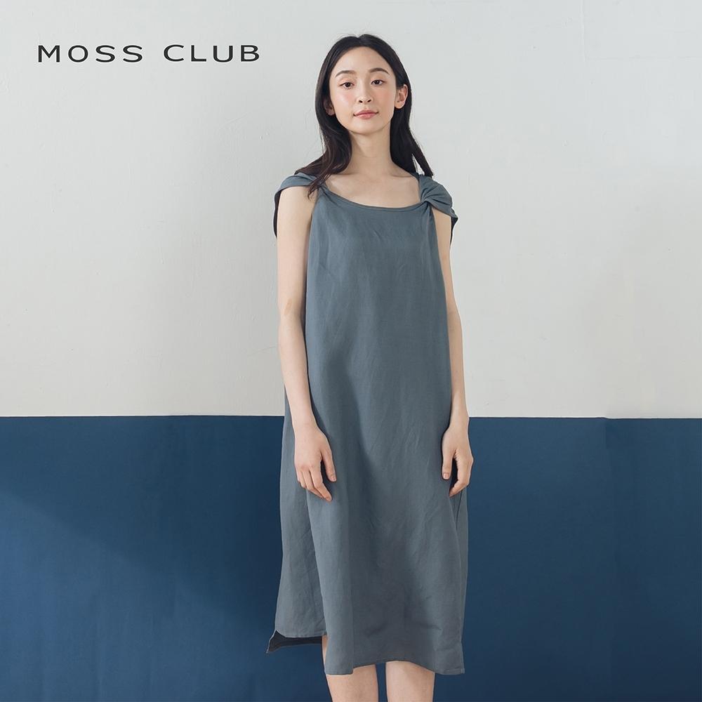 【MOSS CLUB】摺痕肩帶不規則下襬設計-洋裝(藍色)
