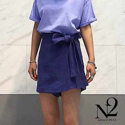 下著 正韓棉麻材質側邊綁帶褲裙(紫) N2