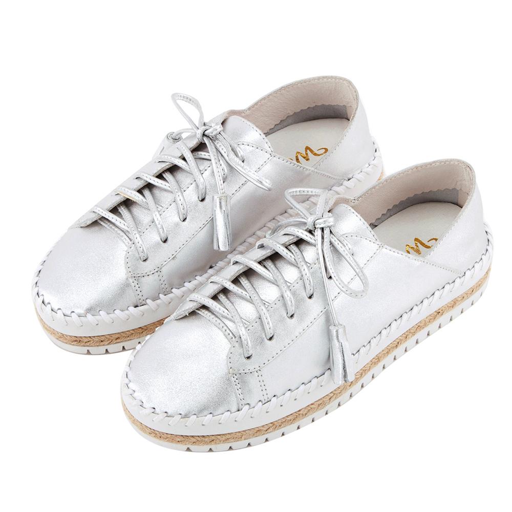 Grace gift X Wei唐葳-全真皮流蘇麻繩厚底休閒鞋 銀