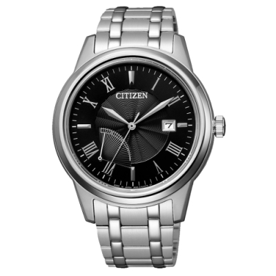 CITIZEN  GENT S光動能時尚波動腕錶-銀X黑(AW7001-98E)/41mm