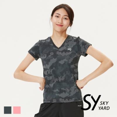 【SKY YARD 天空花園】迷彩水波點點印圖吸濕排汗運動造型上衣-黑色