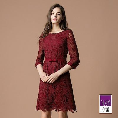 ILEY伊蕾 透膚蝴蝶結造型袖水溶蕾絲洋裝(紅)