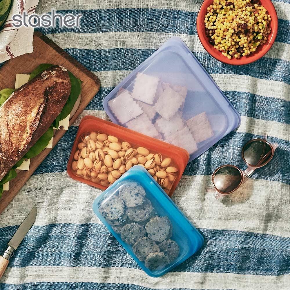 美國Stasher 長形環保按壓式矽膠密封袋-柑橙橘(快)