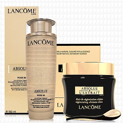 LANCOME蘭蔻 絕對完美黃金玫瑰修護露150ml+絕對完美黑鑽奧秘霜50ml