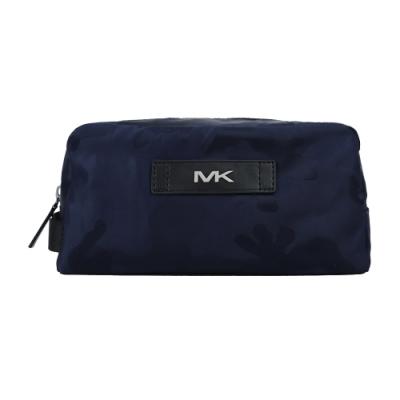 MK MICHAEL KORS KENT ACCESSORIES皮標LOGO迷彩萬用包-深藍