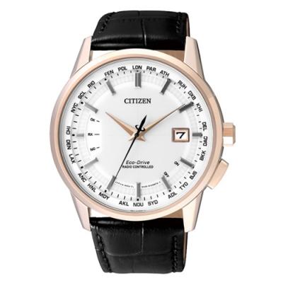 CITIZEN Eco-Drive 時光軌跡電波男錶-淡金框白x黑色錶帶
