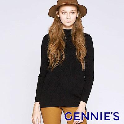 Gennies專櫃-簡約針織彈性孕婦上衣(黑)TSC01