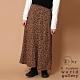 E hyphen 素面/豹紋絨面前排釦長裙 product thumbnail 1