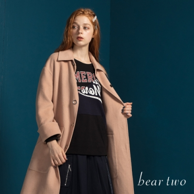 beartwo - 英文字母造型口袋T - 黑