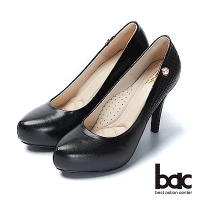 bac紐約不夜城 - 素雅單顆珍珠車格厚底高跟鞋-黑