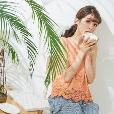 慢 生活 蕾絲鈎花棉紗背心- 橘/白