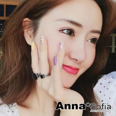 【3件5折】AnnaSofia 刷舊辮編黑釉雙環 開口戒指套組