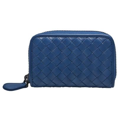 BOTTEGA VENETA 經典編織羊皮拉鍊零錢包(寶藍色)