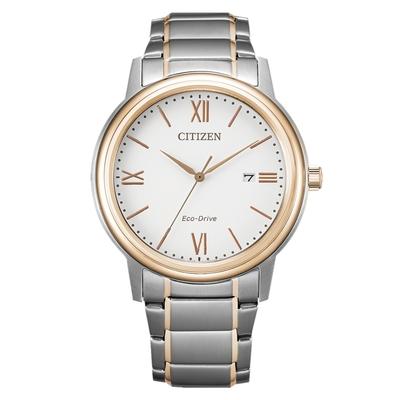 CITIZEN 星辰 PAIR對錶光動能羅馬數字鋼帶情侶錶-男白面 41.5mm(AW1676-86A)