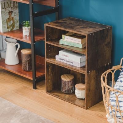 樂嫚妮 二層收納櫃/空櫃/書櫃-層板可抽-仿木色2入組
