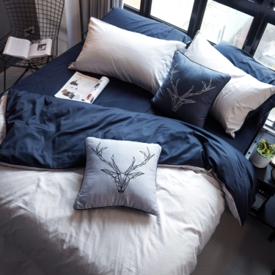 OLIVIA  GRAY X NAVY  特大雙人床包冬夏兩用被套四件組 200織精梳純棉 台灣製
