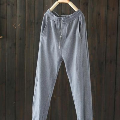 鬆緊腰寬鬆純棉衛褲哈倫顯瘦束腳長褲-設計所在