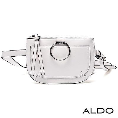 ALDO 原色佐品牌LOGO金屬雙揹帶拉鏈包~氣質白色