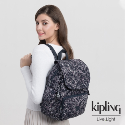 Kipling 英式粉漆塗鴉拉鍊掀蓋後背包-CITY PACK