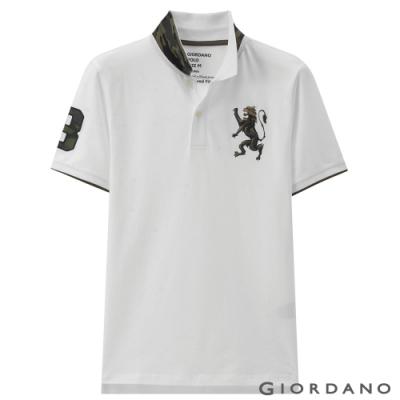 GIORDANO 男裝勝利獅王刺繡迷彩彈力萊卡POLO衫 -11 標誌白色