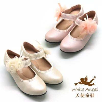 天使童鞋-優雅日光玫瑰高跟鞋(中-大童)J966-粉、米
