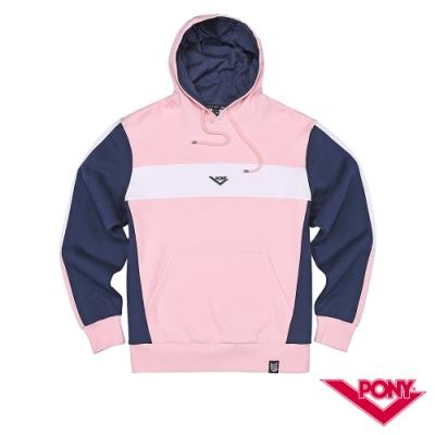 【PONY】長袖運動休閒大學帽T  情侶款  T恤 中性款 粉紅