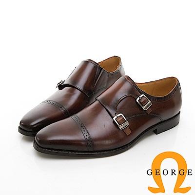 【Amber】商務時尚 雕花雙扣紳士孟克鞋-咖啡色