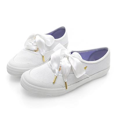 PLAYBOY布拉格夢境 銀蔥綁帶帆布休閒鞋-白