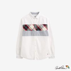 Arnold Palmer-男款-修身色塊拼接牛津襯衫-白