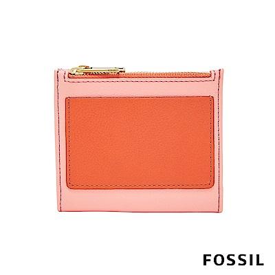 FOSSIL Shelby 真皮系列兩折拉鍊短夾-雙色粉橘