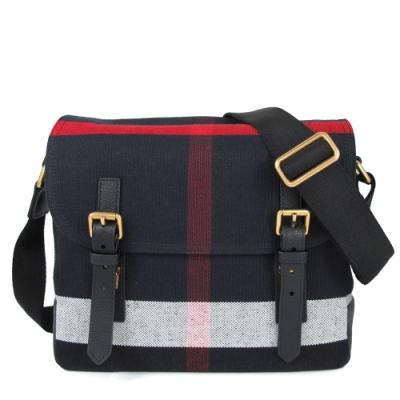 BURBERRY 棉麻系列 CANVAS經典棉麻格紋雙滑扣寬背帶郵差包(黑色)