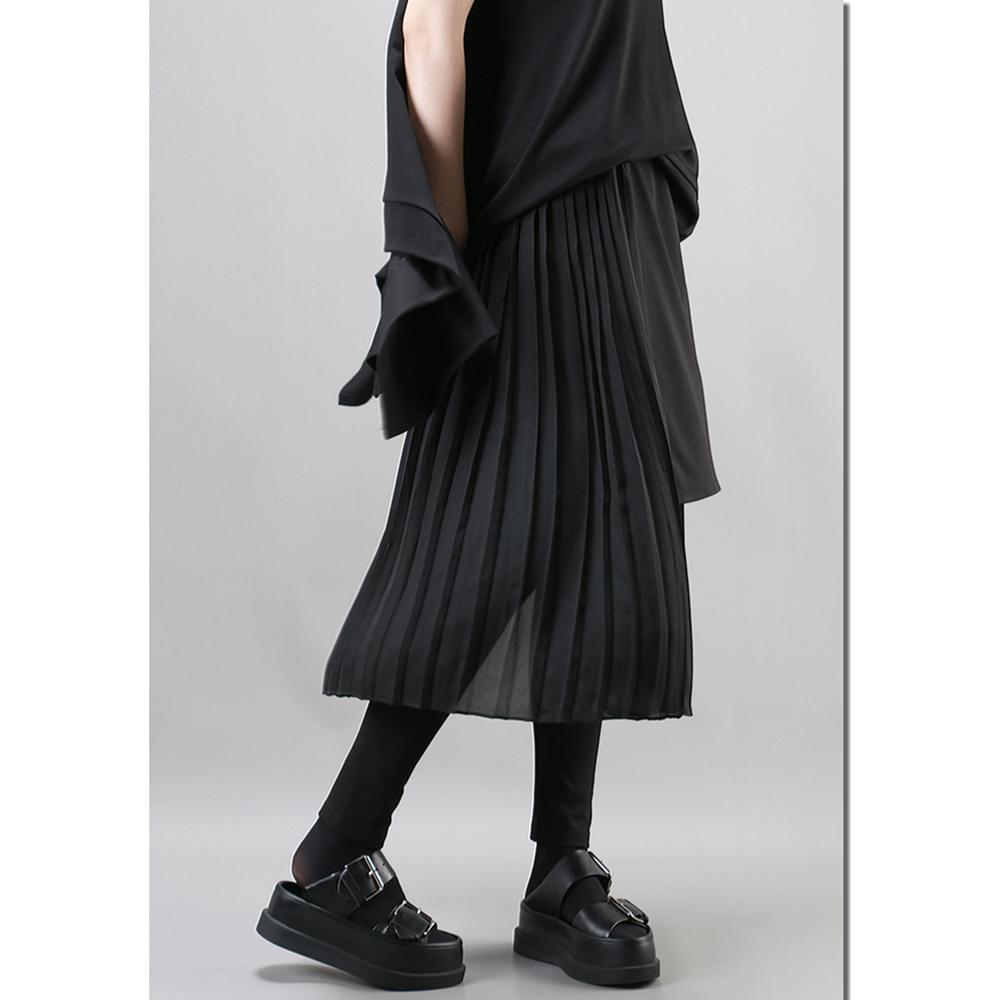 春新款港風裙褲鬆緊腰拼雪紡不規則百褶顯瘦褲裙-設計所在 MP1795