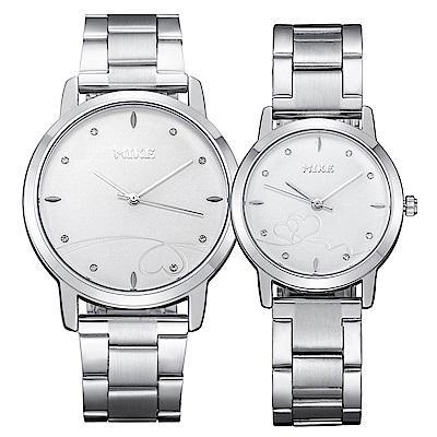 Mirabelle 紅線情緣 點鑽不鏽鋼男女對錶 白面39+27mm