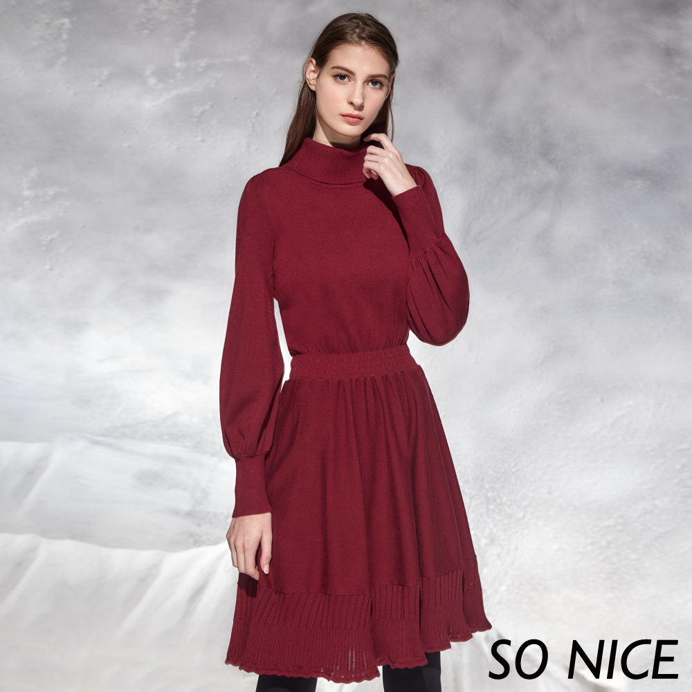SO NICE優雅高領燈籠袖針織洋裝