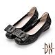 DN 都會美型 真皮蝴蝶結飾扣楔型低跟鞋-黑 product thumbnail 1