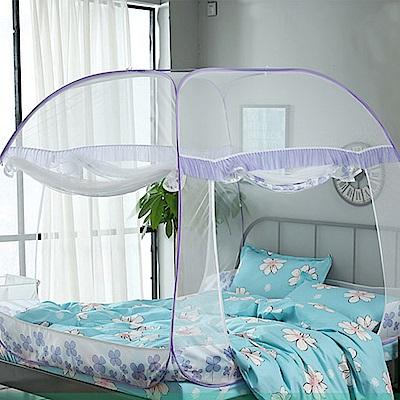 挪威森林 第三代蒙古包方形免安裝3秒速開蕾絲蚊帳-雙人款紫色幸運草