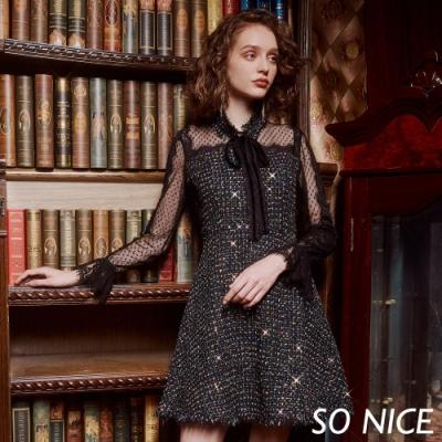 SO NICE優雅網紗拼接粗花呢洋裝