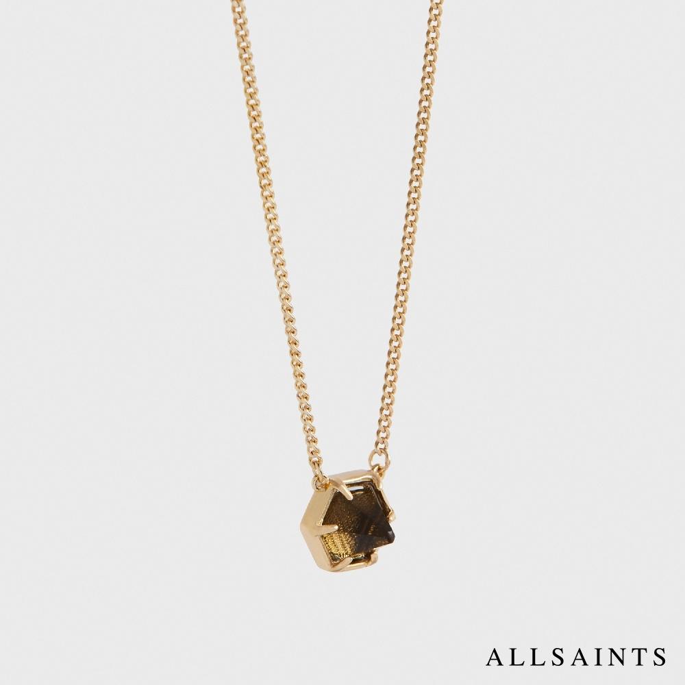 ALLSAINTS KIMONA 六角水晶造型項鍊-石英黑