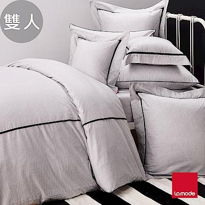La mode寢飾  銀河系列-宇宙黑環保印染100%精梳棉被套床包組(雙人)