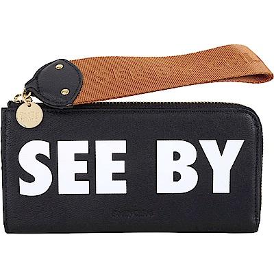 SEE BY CHLOE JORIS 字母標籤織帶拉環牛皮長夾(黑色) @ Y!購物