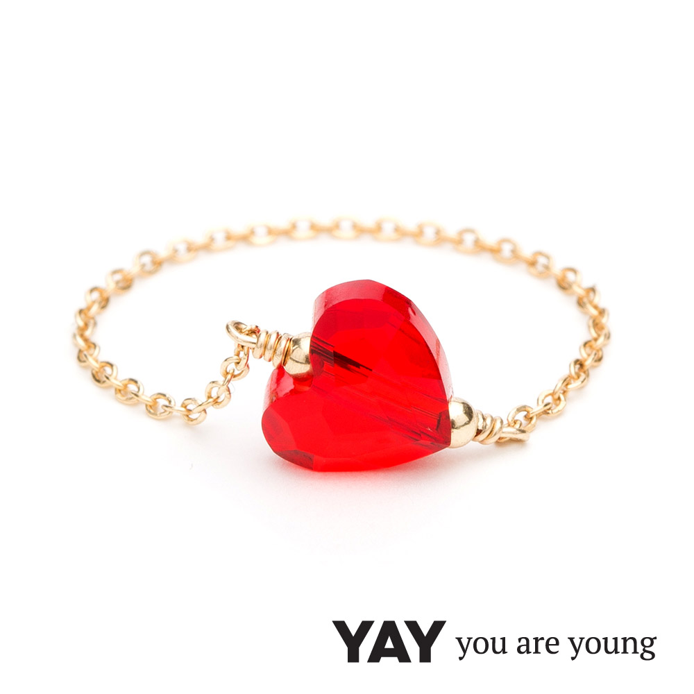 YAY You Are Young 法國品牌 Chateau 紅水晶心形鍊戒 金色