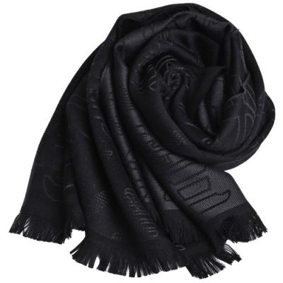 EMPORIO ARMANI 義大利製字母大老鷹LOGO圖騰羊毛圍巾(黑/深灰)